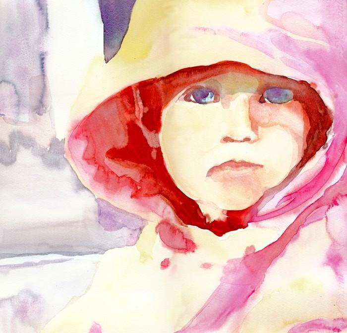 Papier peint visage de petite fille technique des couleurs de l 39 eau pixers nous vivons - Papier peint petite fille ...