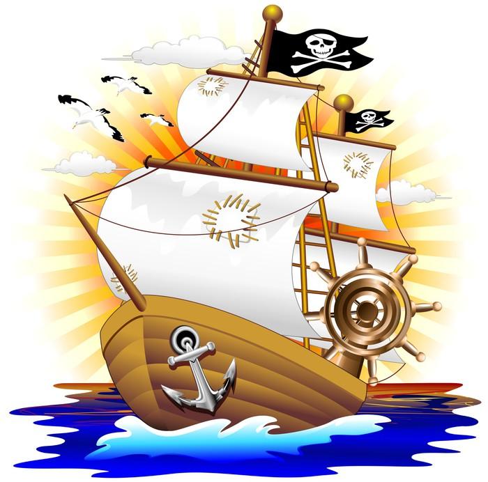 Nálepka Pixerstick Pirátská loď Pirátská loď Cartoon-Vector - Osud