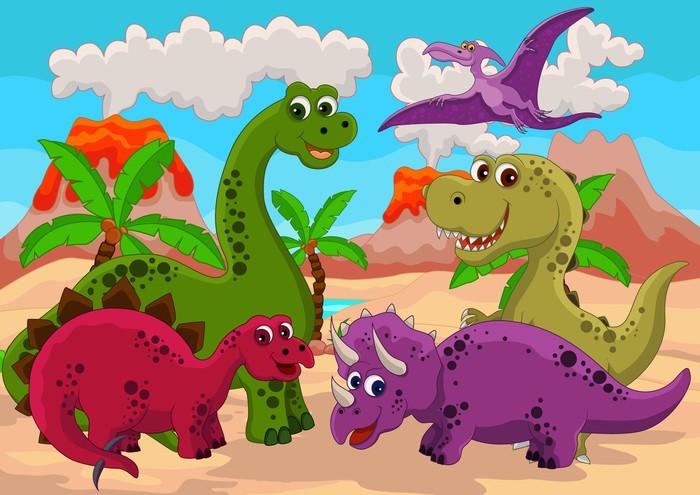 Adesivo dinosauro divertente cartone animato pixers