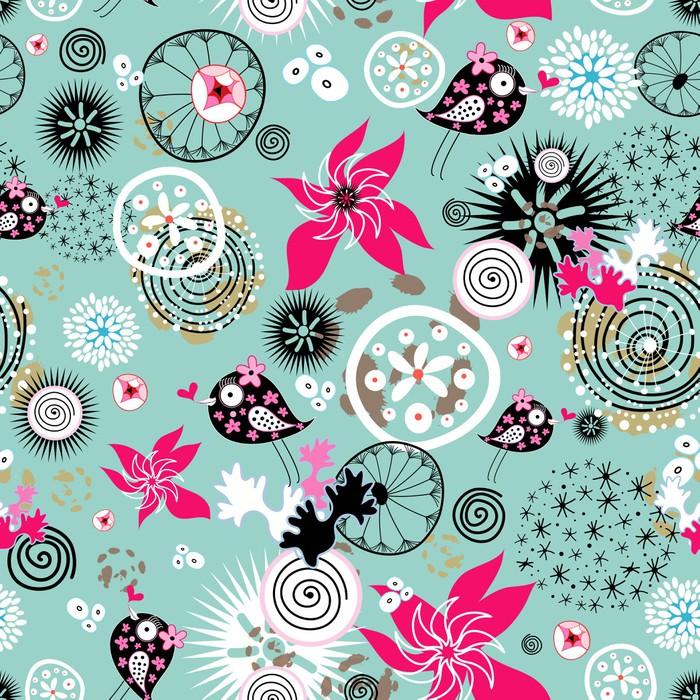 Vinylová Tapeta Květinové textury s ptáky - Struktury