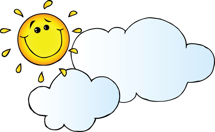 Bulut Karikatür Karakter Arkasında Sun Gülen Iki Parçalı Pixers