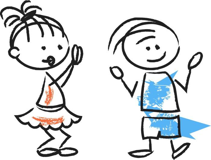 Fotomural Lindo Caricatura De Niños Felices • Pixers