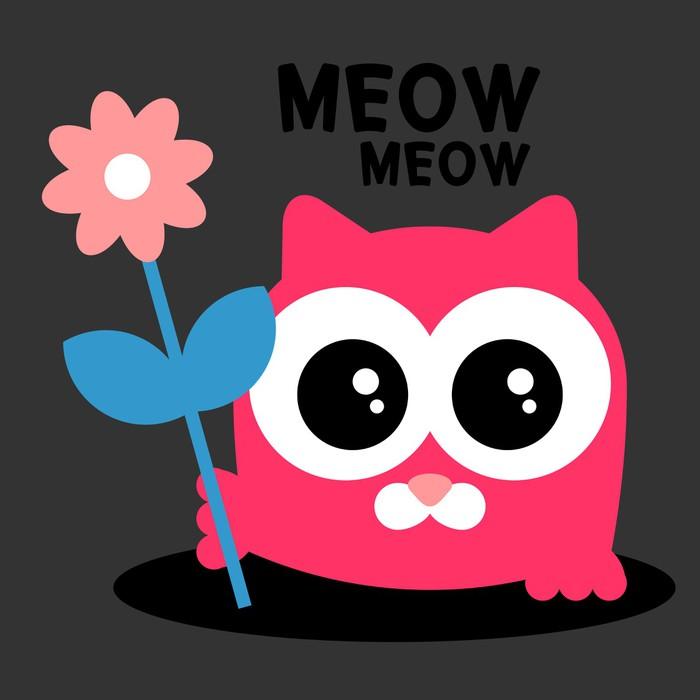 Vinylová Tapeta Roztomilé dítě kotě s květinovým blahopřání - Savci