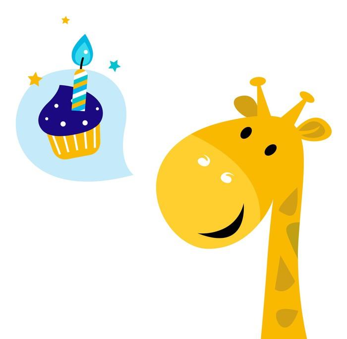 Cute yellow cartoon party giraffe with Candy Wall Mural • Pixers ...