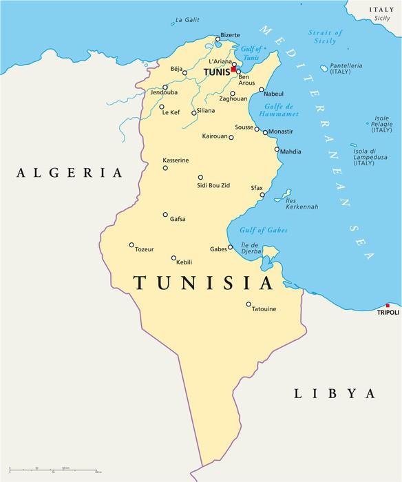 tunisien karta Tunisia Map (Tunesien Landkarte) Sticker • Pixers® • We live to change tunisien karta