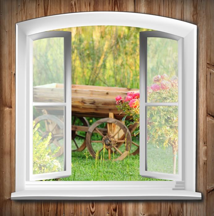 Tableau sur toile fen tres avec vue sur le jardin pixers for Toile fenetre ikea