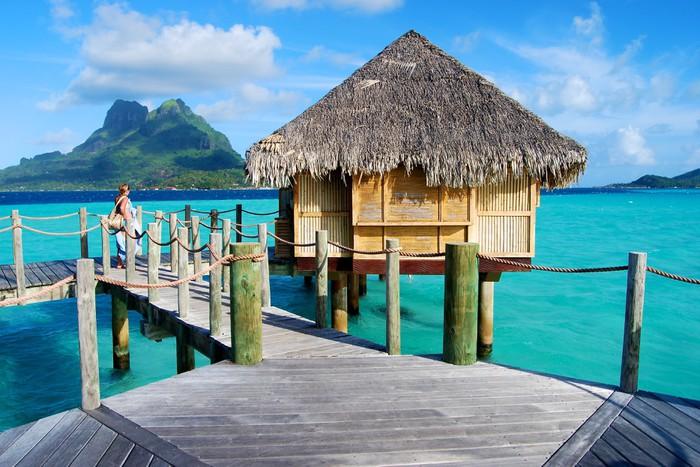 Vinylová Tapeta Nad vodou, Bora Bora - Oceánie