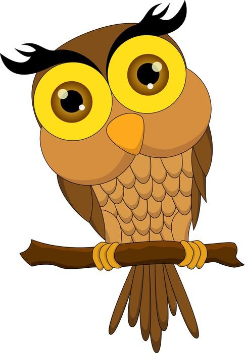 Vinylová Tapeta Kreslený sova sedí na větvi stromu - Ptáci