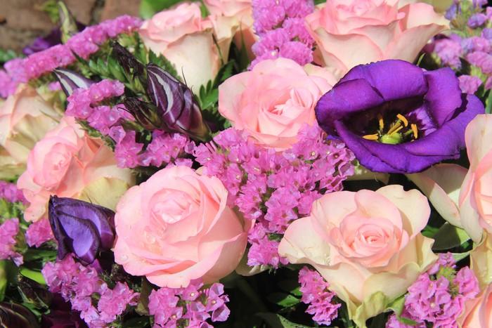 Pink and purple flower arrangement wall mural pixers we live to pink and purple flower arrangement vinyl wall mural flowers mightylinksfo