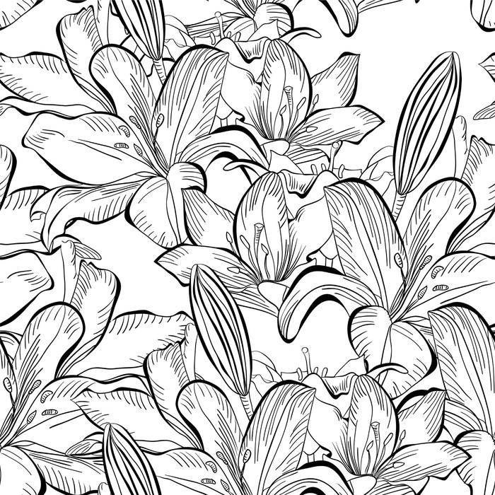 Vinylová Tapeta Bezešvé vzor s bílou lilií květy - Styly