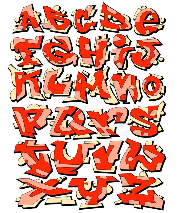 Graffiti Font Urban Art Alphabet Vinyl Wall Mural