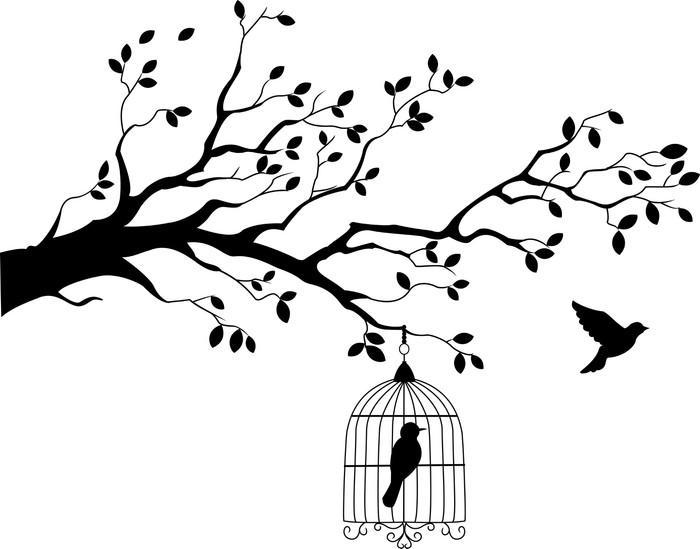 Sticker Pixerstick Silhouette d'arbre avec un oiseau volant - Styles