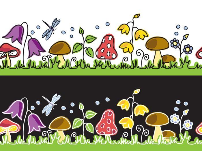 Vinylová Tapeta Letní květiny a houby na louce - Pozadí