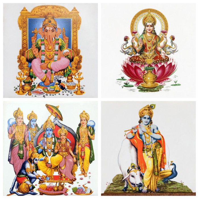 Vinylová Tapeta Sada starožitné dlaždice s obrazy hinduistických bohů: (Gansha, Lakshm -