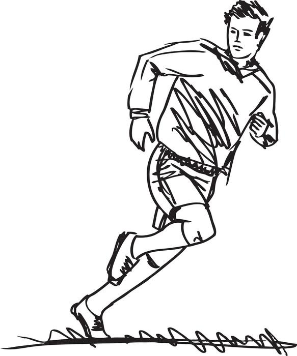 Szkic piłkarz. Ilustracji wektorowych