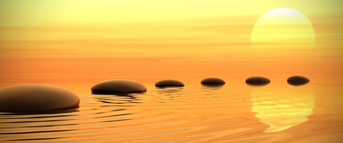 Vinylová Tapeta Zen cesta kamenů na západ slunce v širokoúhlém formátu - Styly