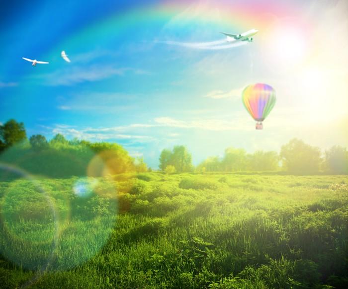 Vinylová Tapeta Krásný obraz ohromující západu slunce s atmosférickými mraky a S - Venkov