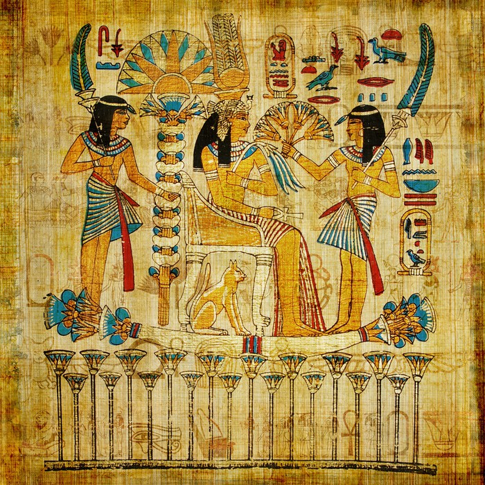 Old egyptian parchment wall mural pixers we live to for Egyptian mural wallpaper