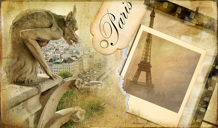 vintage almum - memories about Paris Wall Mural • Pixers® • We live ...