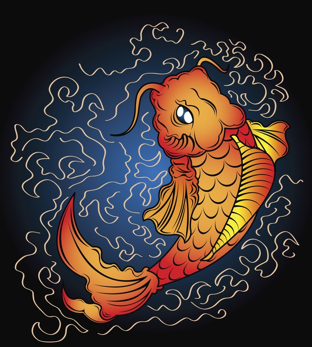 Koi vector wall mural pixers we live to change for Mural vector