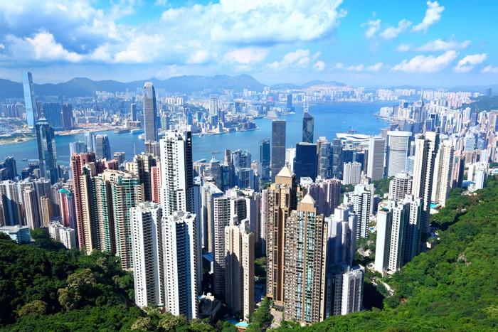 Vinylová Tapeta Hong Kong v slunečný den - Město