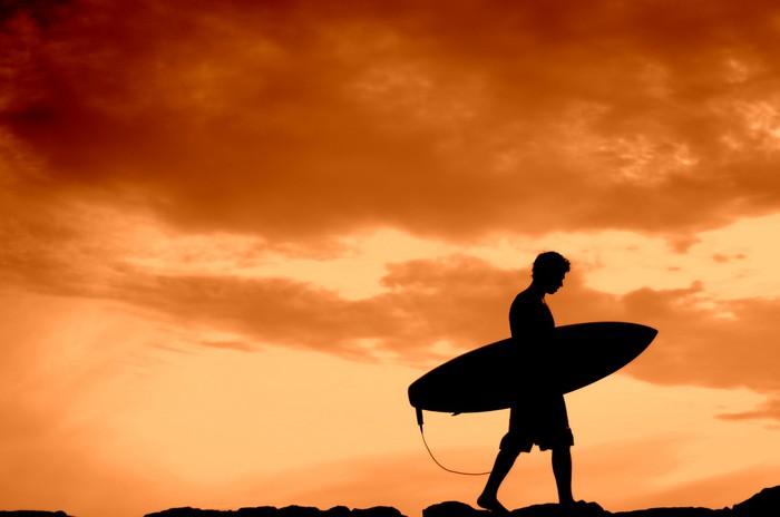 Vinylová Tapeta Západ slunce Surfer s kopií prostor - Prázdniny