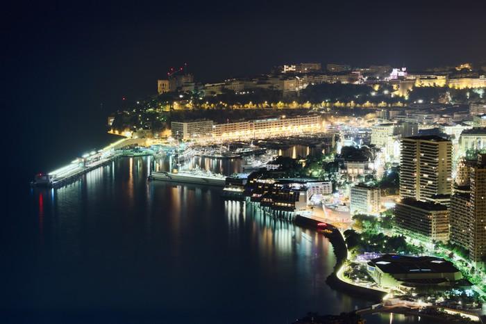Vinylová Tapeta Monacoo v noci - Evropa