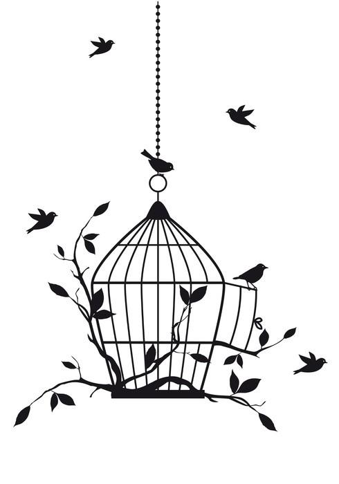Sticker Pixerstick Oiseaux libres avec cage ouverte, vecteur -