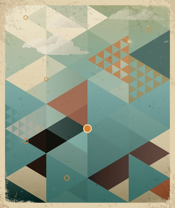 Abstract Retro Geometric Background With Clouds Wall Mural