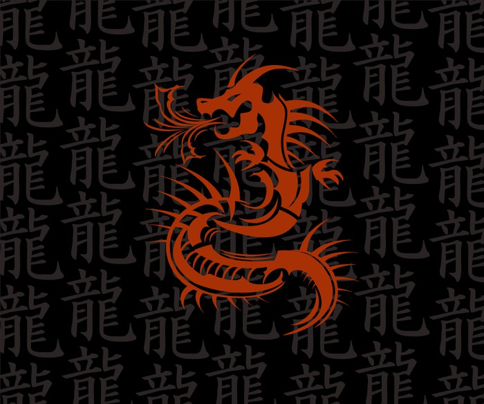 Vinylová Tapeta Red Dragon - asijský styl - Umění a tvorba