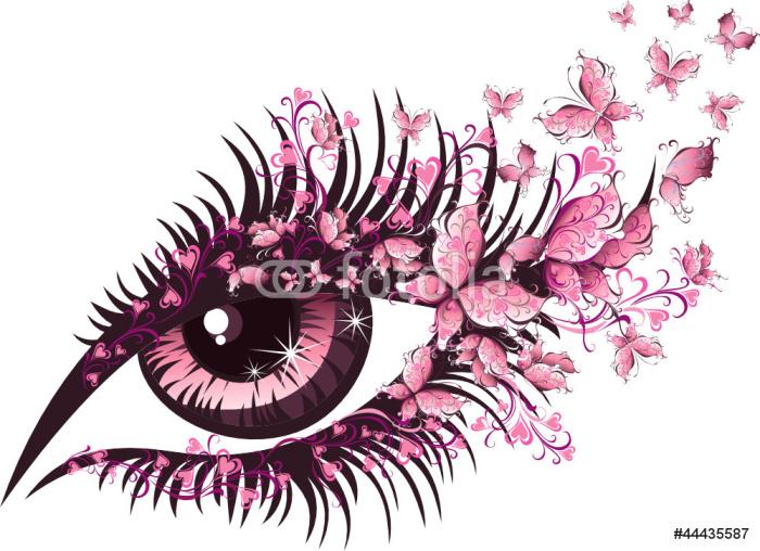 Vinylová Tapeta Krásná žena oko s motýly - Témata