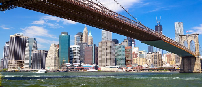 Brooklyn Bridge And Lower Manhattan Skyline Panorama New York Wall