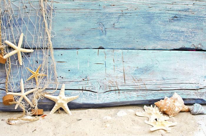 Adesivo flotsam contro un legno blu con rete da pesca - Rete da pesca per decorazioni ...