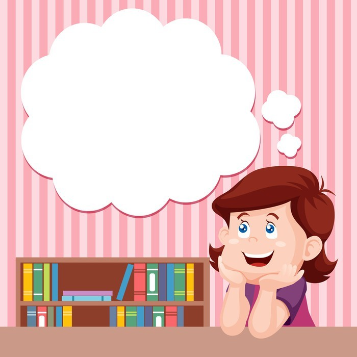 Cartoon girl thinking with white bubble for text Wall Mural • Pixers ...