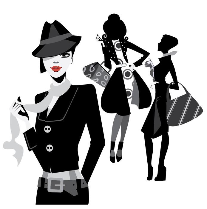 papier peint femmes en noir et blanc portrait de la mode pixers nous vivons pour changer. Black Bedroom Furniture Sets. Home Design Ideas