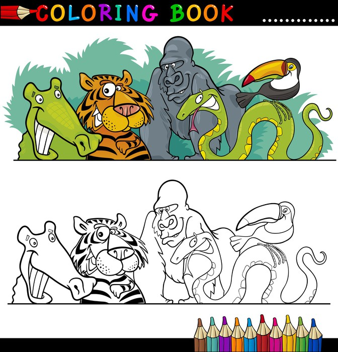 Vinilo Pixerstick Salvajes animales de la selva para colorear ...