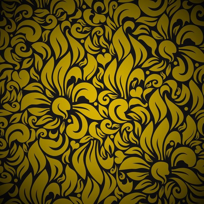 Vinylová Tapeta Gold bezešvé Květinové pozadí - Pozadí