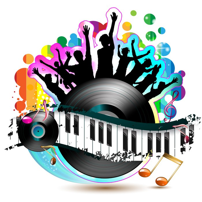 Fototapete Piano-Tasten mit tanzenden Silhouetten und Vinyl ...