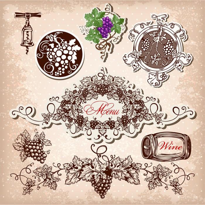 Vinylová Tapeta Ručně malovaná vector set na víno, hrozny a vinařství - Alkohol