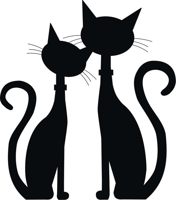 Sticker Pixerstick Silhouette de deux chats - Destin
