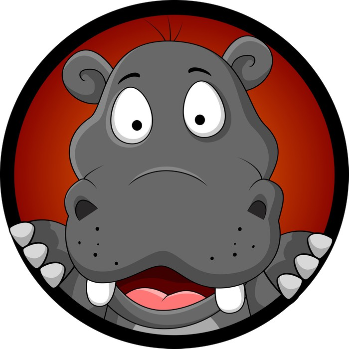 Adesivo simpatico cartone animato ippopotamo testa