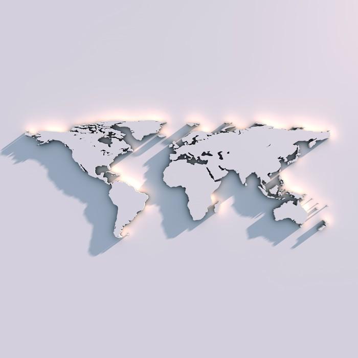 Carta da Parati in Vinile Mappa del mondo in rilievo parietale - Temi
