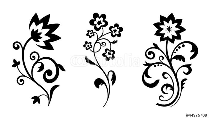 Sticker Pixerstick Silhouettes de fleurs abstraites. Vector floral éléments de conception - Sticker mural