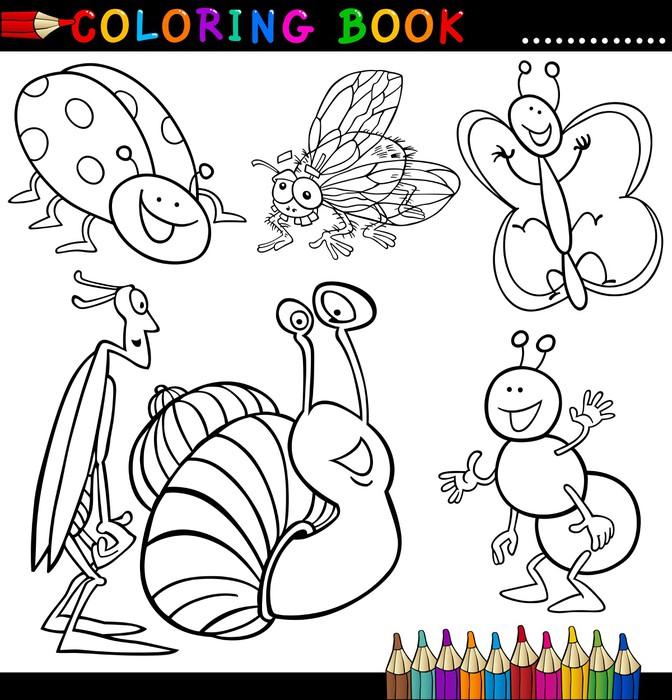 Vinilo Pixerstick Insectos y bichos de libro para colorear o página ...