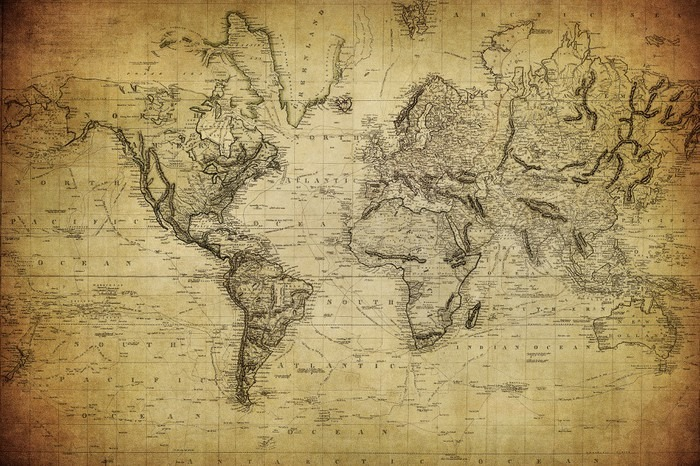 vintage map of the world 1814.. Vinyl Wall Mural - Themes