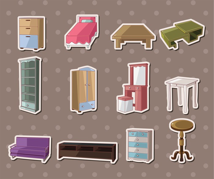 Nálepka Pixerstick Roztomilý samolepky cartoon nábytek - Značky a symboly
