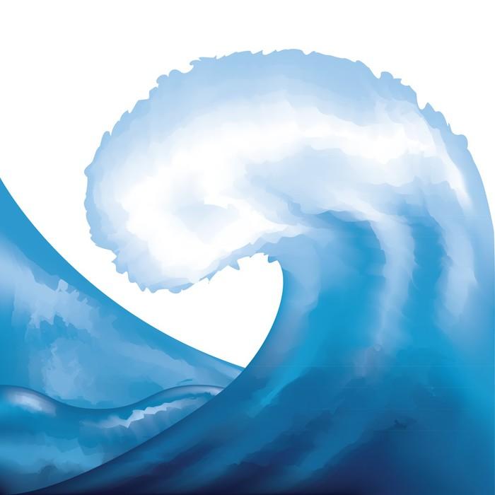 Nálepka Pixerstick Akvarel malovaný vlna - Voda