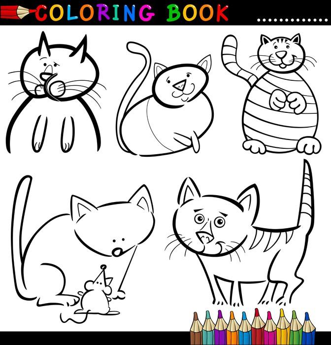 Fotomural Los gatos de dibujos animados para colorear libro o página ...