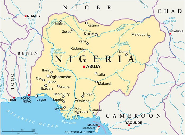 nigeria karta Fototapete Nigeria Karte (Nigeria Landkarte) • Pixers®   Wir leben  nigeria karta