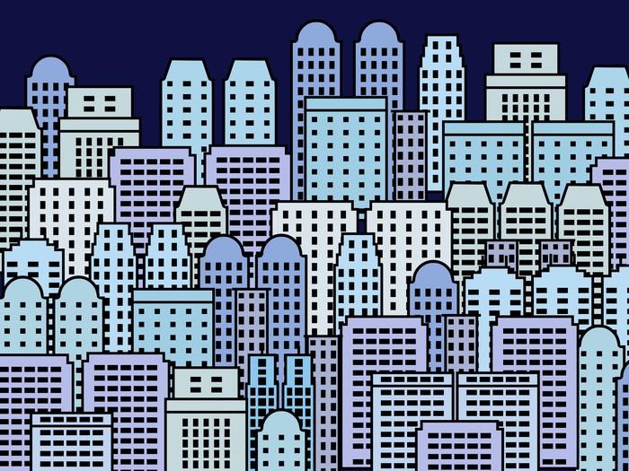 Vinylová Tapeta City ilustrace - mrakodrap metropole vektor - Město